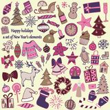 Reeks van 58 elementen van ontwerp Het mooie hand-drawn Nieuwjaar ` s i stock illustratie