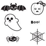 Reeks van elementen voor ontwerpachtergrond en affiche voor Halloween Stock Fotografie