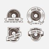 Reeks van emblemen muzikale richting Stock Afbeelding