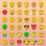 Reeks van Emoji, de Gezichten Vlakke stijl van Glimlachemoji Royalty-vrije Stock Afbeelding