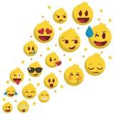 Reeks van emoji het vliegen populair stock illustratie