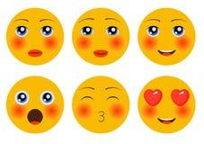 Reeks van Emoji Smileys emoticons stock illustratie