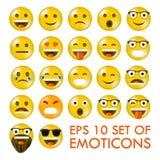 Reeks van Emoticons of Emoji vector illustratie