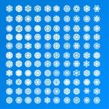 Reeks van 100 en 10 verschillende exclusieve diverse witte sneeuwvlokken Royalty-vrije Stock Afbeeldingen