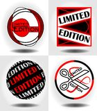 Reeks van etiket met inscription Limited uitgave voor uniek product Grafisch verschillende uitdrukking in witte, zwarte en rode k Stock Foto's