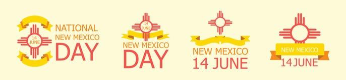 Reeks van etiket, teken voor Nationaal New Mexico Dag 14 Juni royalty-vrije illustratie