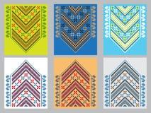 Reeks van Etnisch ornamentpatroon in verschillende kleuren Vector illustratie Stock Foto's