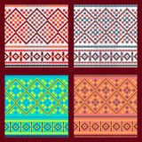 Reeks van Etnisch ornamentpatroon in verschillende kleuren Vector illustratie royalty-vrije stock afbeelding