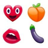 Reeks van Fantastisch Smiley Emoticons, Emoji-Ontwerp Royalty-vrije Stock Foto