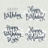 Reeks van feestetikettenverjaardag Stock Afbeelding