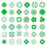 Reeks van fortuin vier de vectorillustratie van bladklavers vector illustratie