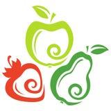 Reeks van fruit Stock Afbeeldingen