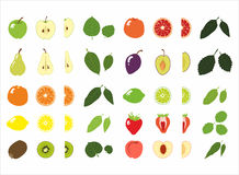 Reeks van fruit en blad Stock Foto's