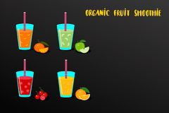 Reeks van fruit smoothies in een glas met ingrediënten verse sinaasappel, appel, mandarijn en kers Organische gezondheid smoothie royalty-vrije illustratie