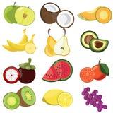 Reeks van fruitpictogram Stock Afbeeldingen