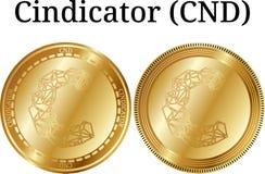 Reeks van fysiek gouden muntstuk Cindicator CND Stock Foto's