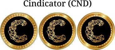 Reeks van fysiek gouden muntstuk Cindicator CND Stock Foto