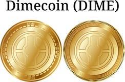 Reeks van fysiek gouden muntstuk Dimecoin (DIME) stock illustratie