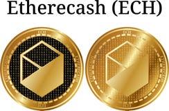 Reeks van fysiek gouden muntstuk Etherecash ECH Stock Foto's
