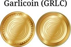 Reeks van fysiek gouden muntstuk Garlicoin GRLC Stock Afbeeldingen