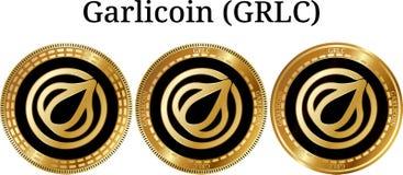 Reeks van fysiek gouden muntstuk Garlicoin GRLC Stock Foto's