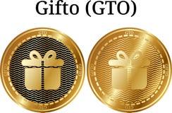 Reeks van fysiek gouden muntstuk Gifto GTO Royalty-vrije Stock Afbeeldingen