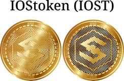 Reeks van fysiek gouden muntstuk IOStoken IOST Stock Foto
