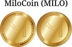 Reeks van fysiek gouden muntstuk MiloCoin MILO Stock Foto