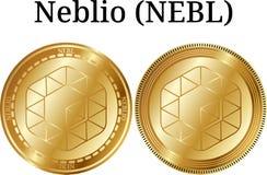 Reeks van fysiek gouden muntstuk Neblio NEBL Stock Afbeelding