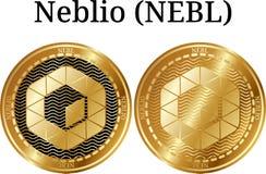 Reeks van fysiek gouden muntstuk Neblio NEBL Royalty-vrije Stock Foto's