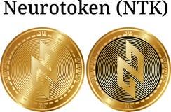 Reeks van fysiek gouden muntstuk Neurotoken NTK Stock Foto