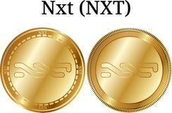 Reeks van fysiek gouden muntstuk Nxt NXT Royalty-vrije Stock Foto's
