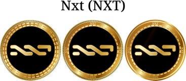 Reeks van fysiek gouden muntstuk Nxt NXT Stock Afbeelding