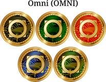 Reeks van fysiek gouden muntstuk Omni OMNI Stock Foto