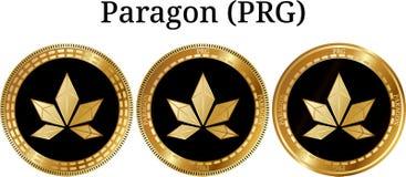 Reeks van fysiek gouden muntstuktoonbeeld PRG Stock Afbeeldingen