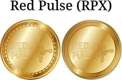 Reeks van fysieke gouden muntstuk Rode Impuls RPX Stock Fotografie