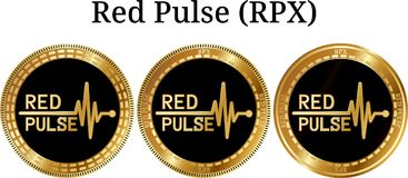 Reeks van fysieke gouden muntstuk Rode Impuls RPX Royalty-vrije Stock Afbeeldingen