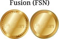 Reeks van fysieke gouden muntstukfusie FSN Royalty-vrije Stock Foto