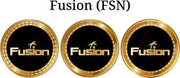 Reeks van fysieke gouden muntstukfusie FSN Royalty-vrije Stock Foto's