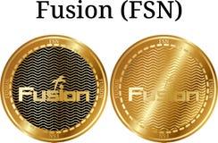 Reeks van fysieke gouden muntstukfusie FSN Stock Foto