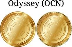Reeks van fysieke gouden muntstukodyssee OCN Stock Foto's