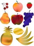 Reeks van geïsoleerd fruit Stock Foto