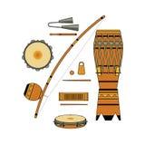Reeks van geïsoleerd kleurrijk decoratief overladen Braziliaans muzikaal instrument voor bateria van capoeira op witte achtergron royalty-vrije illustratie