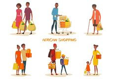 Reeks van geïsoleerde Afrikaanse Amerikaanse familie bij winkel stock illustratie