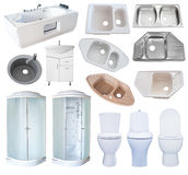 Reeks van geïsoleerde badkamersmateriaal, Royalty-vrije Stock Foto