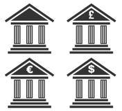 Reeks van geïsoleerde bankpictogram stock afbeelding