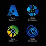 Reeks van geïsoleerde blauwe en groene gegevensterugwinning Stock Fotografie