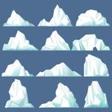 Reeks van geïsoleerde ijsberg of afdrijvende noordpoolgletsjer Royalty-vrije Stock Foto's