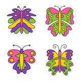 Reeks van geïsoleerde kleuren abstracte vlinder Stock Fotografie