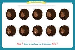 Reeks van geïsoleerde vrouwenuitdrukking Geïsoleerd op wit Leuke vrouwen emotionele vrouwelijke hoofdillustratie vectorgezichtsme stock illustratie